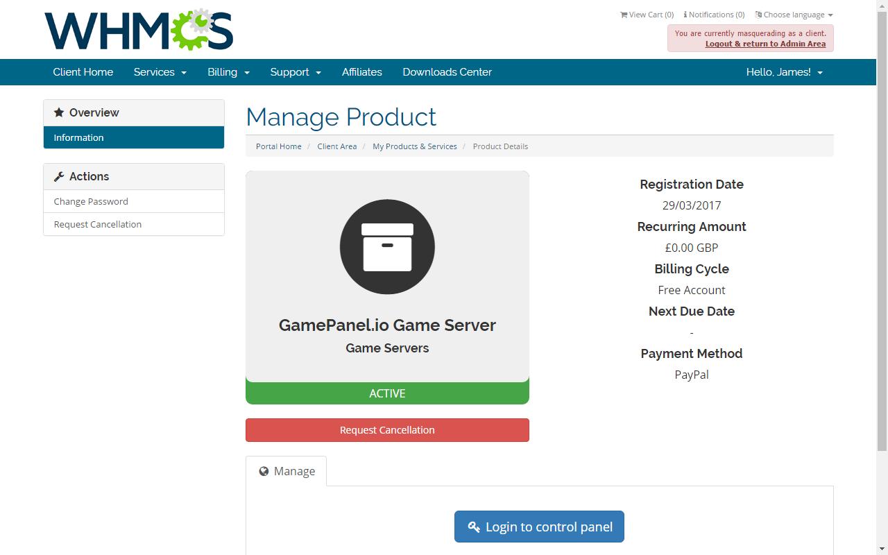 GamePanel io - Provisioning Module - WHMCS Marketplace