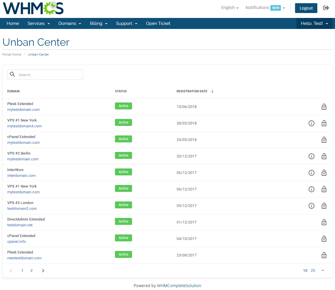 Unban Center For WHMCS - WHMCS Marketplace