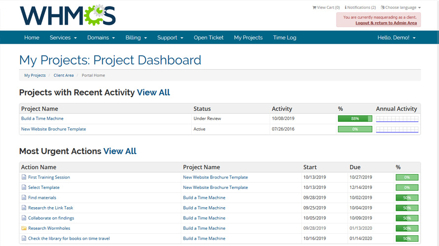 project management activity tracking whmcs marketplace