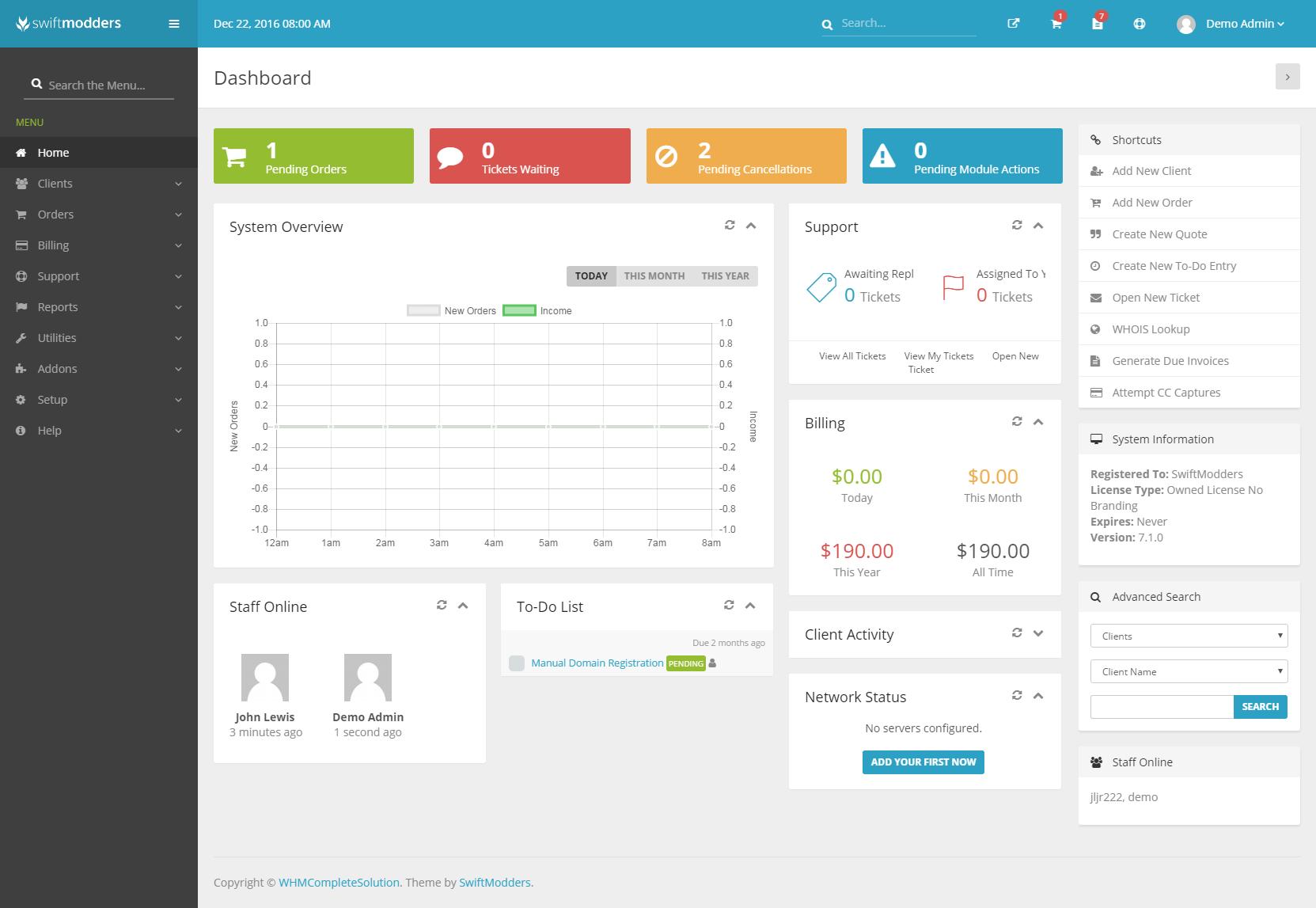 SwiftModders WHMCS Admin Theme - WHMCS Marketplace