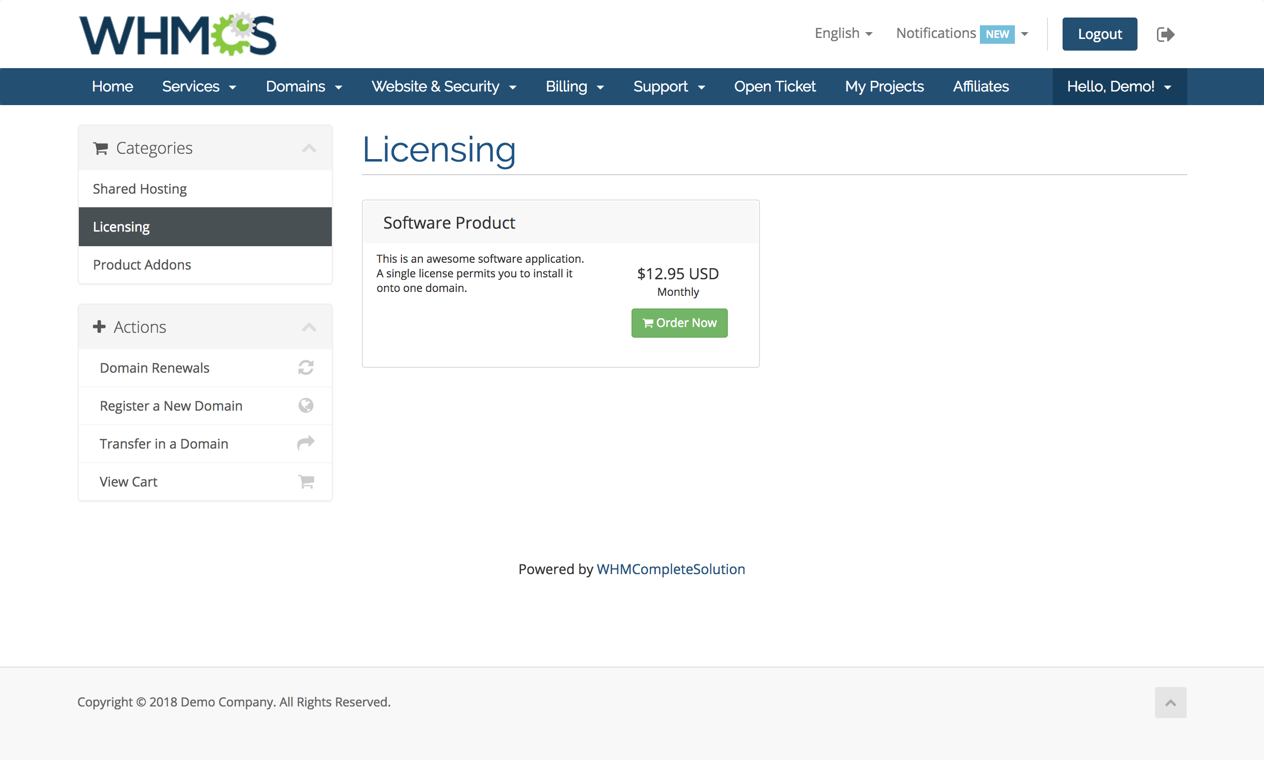 Software Licensing Addon - WHMCS Marketplace
