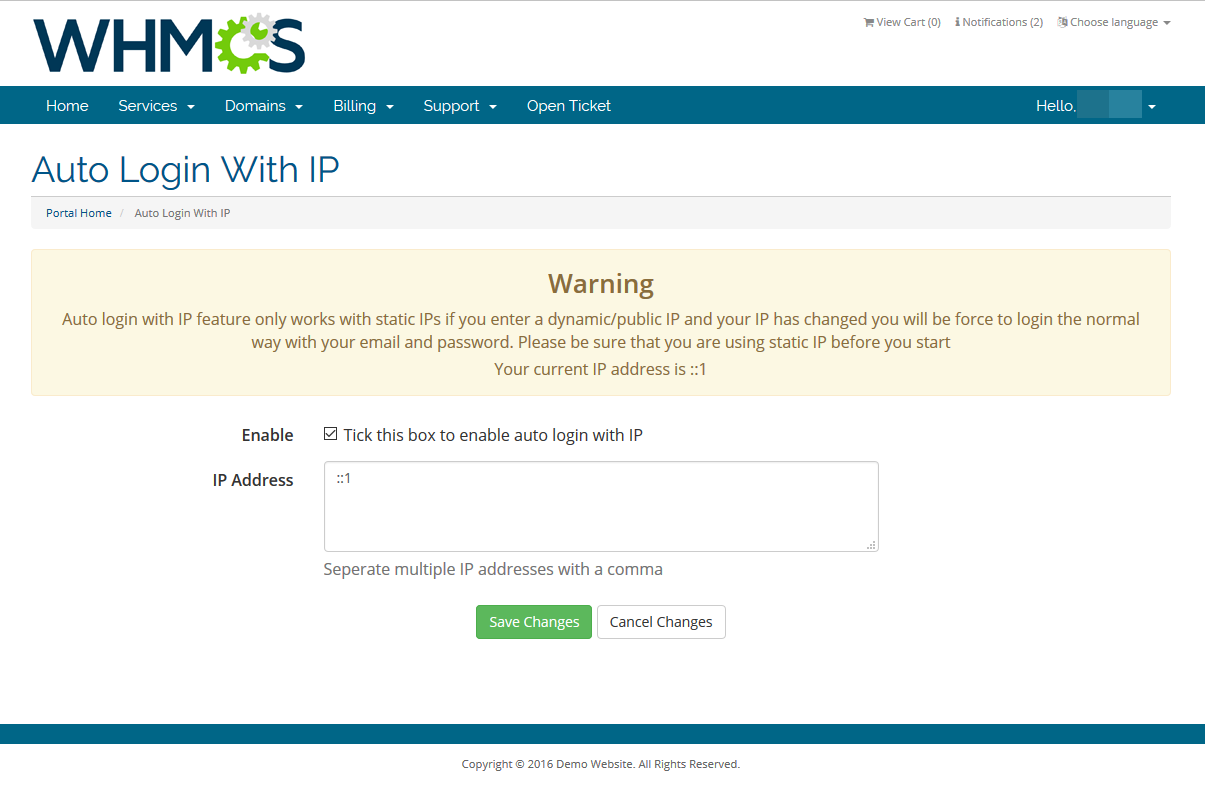 Auto Login With IP - WHMCS Marketplace