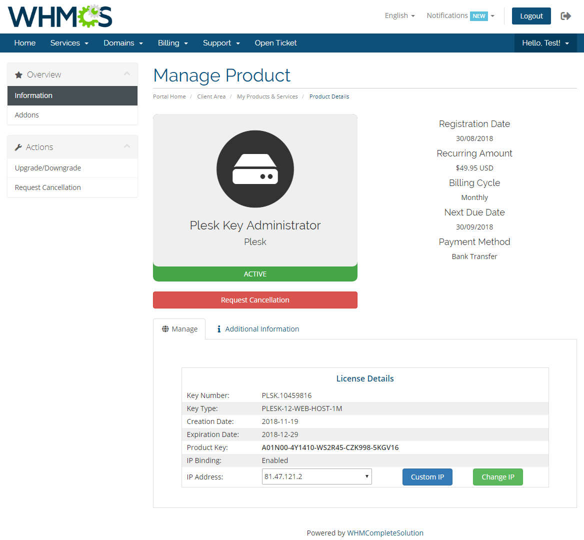 Plesk Key Administrator For WHMCS - WHMCS Marketplace