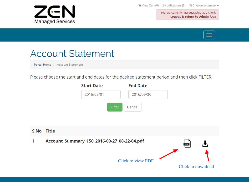 Account Statements Module - WHMCS Marketplace