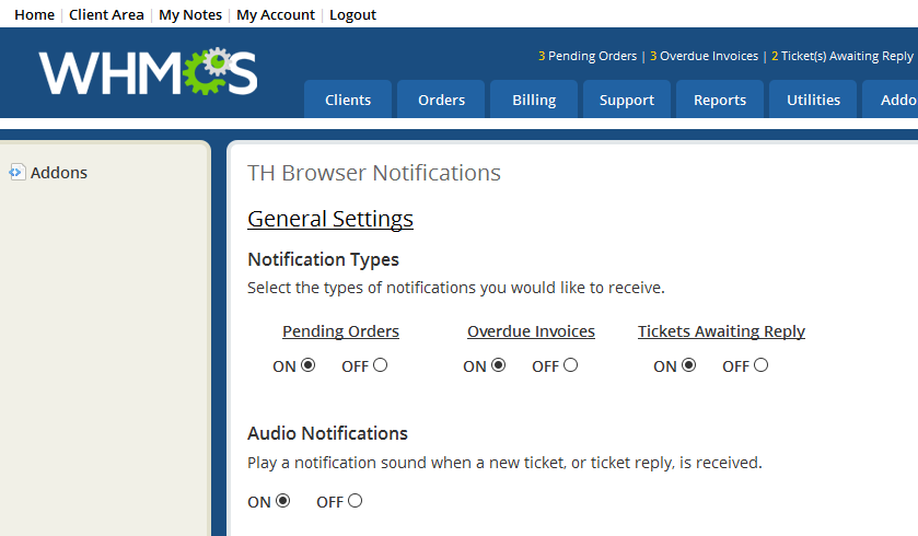 TH Browser Notifications for WHMCS - WHMCS Marketplace