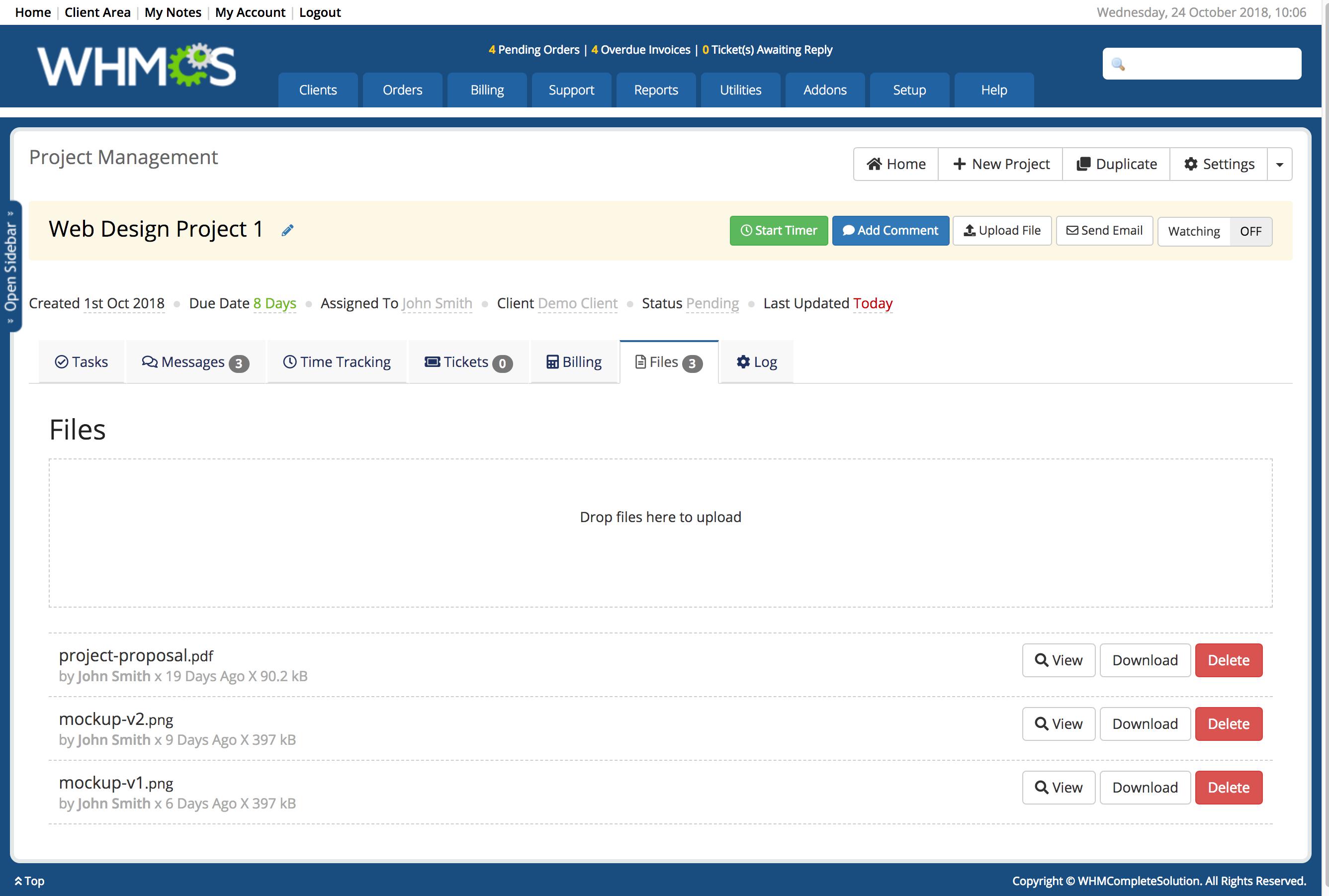 Project Management Addon - WHMCS Marketplace