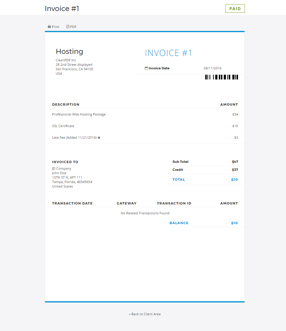 Cleanhtml Invoice And Quote Template Whmcs Marketplace