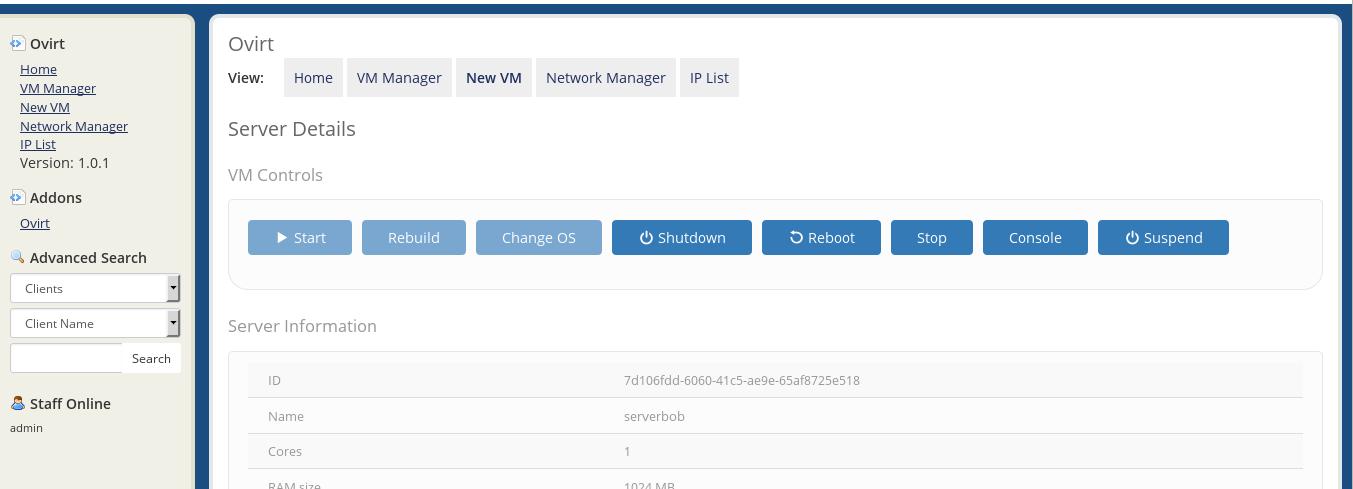 oVirt Management Module - WHMCS Marketplace