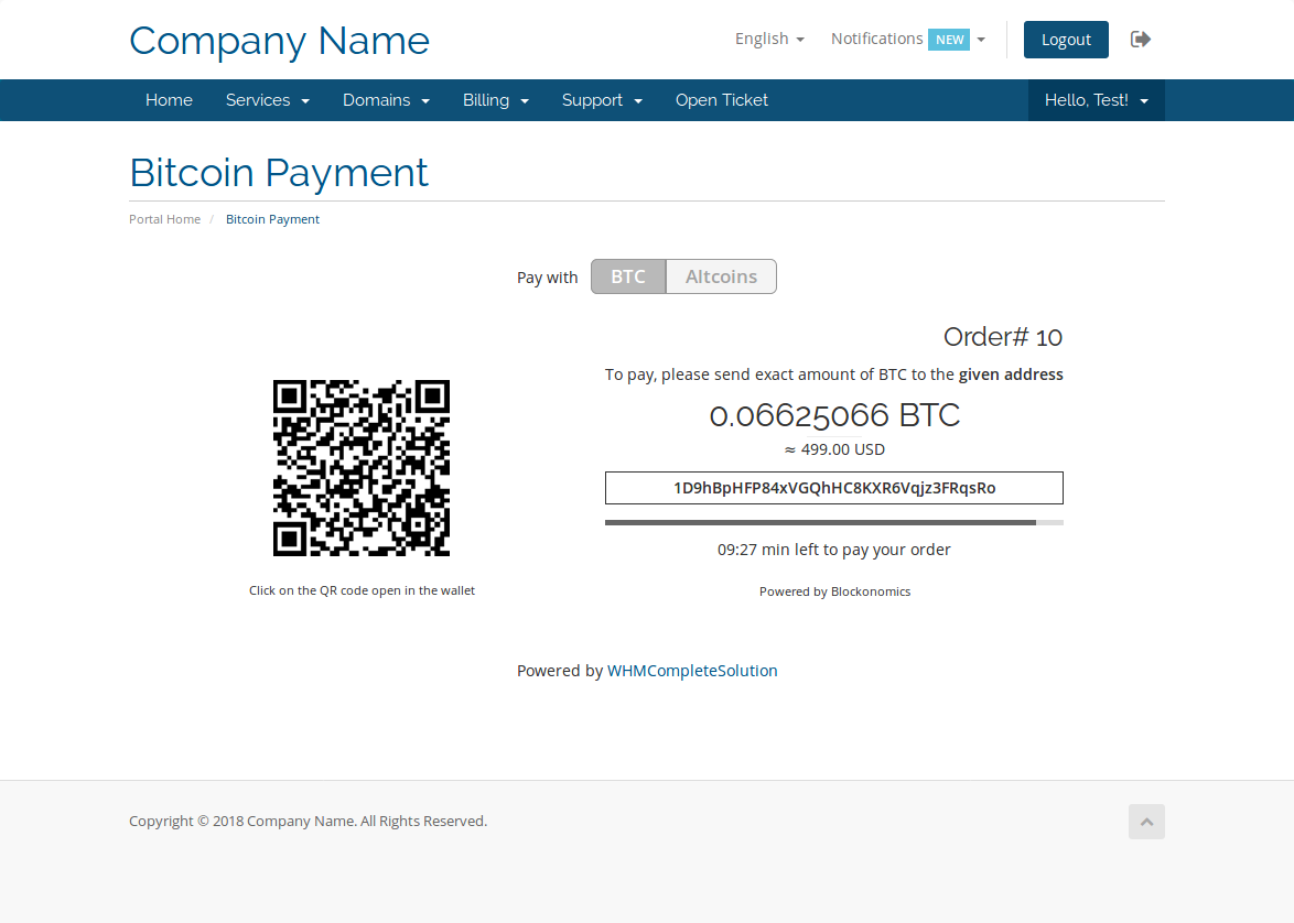 WHMCS Bitcoin Payments - WHMCS Marketplace