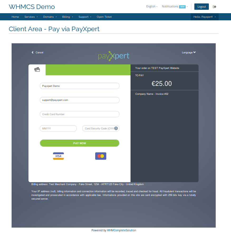 Connect2Pay - PayXpert - WHMCS Marketplace