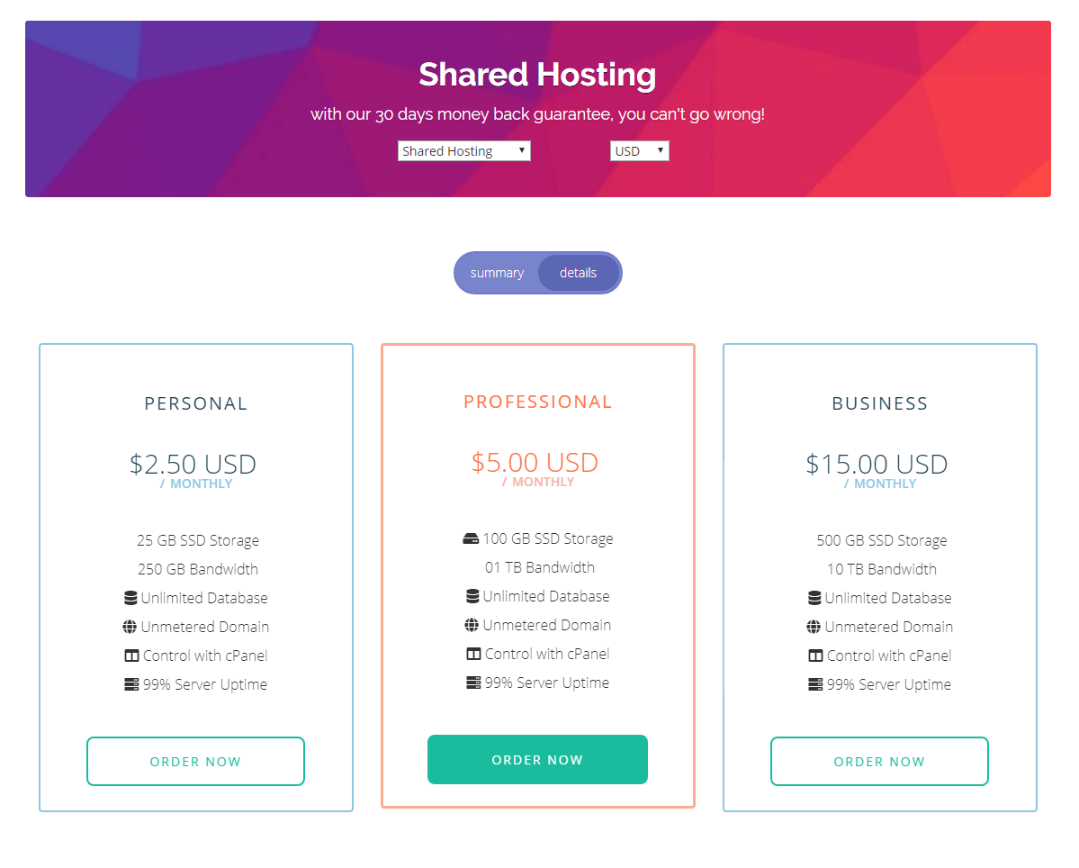 Flip Hosting Cart - WHMCS Order Form Template - One Page Review