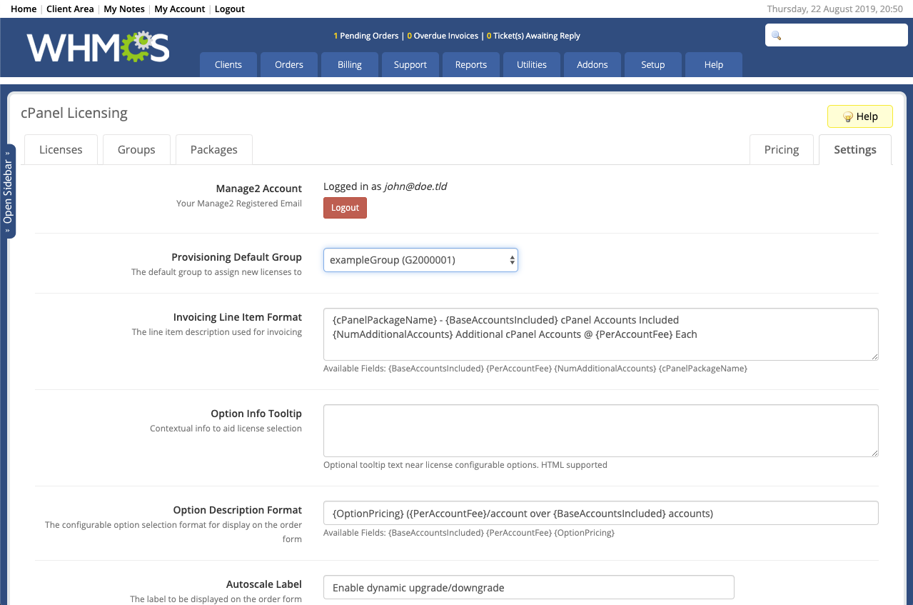 cPanel Licensing - WHMCS Marketplace