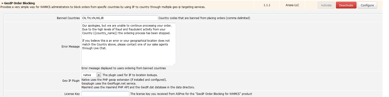 GeoIP Order Blocking - WHMCS Marketplace